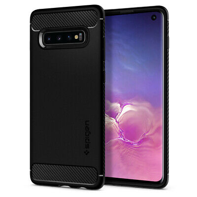 Galaxy S10/ S10 Plus/ S10e Spigen® [Rugged Armor] Black Protective Case Cover