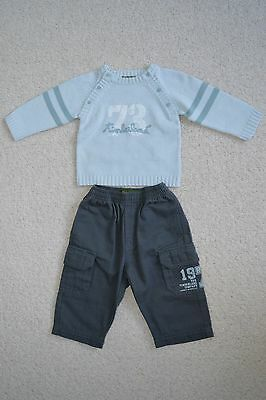 ef2c099ae1fe BNWOT TIMBERLAND BOYS Grey Cargo Pants Trousers 6M 9M Blue Top ...