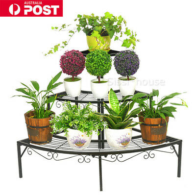 Outdoor Indoor Pot Plants Stand Garden Metal 3 Tier Planter Shelves Corner Shelf