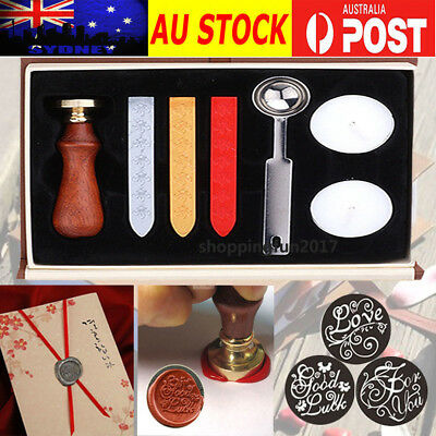 2X Vintage Seal Sealing Wax Stick Stamp Set For Letters Wedding Party Invitation