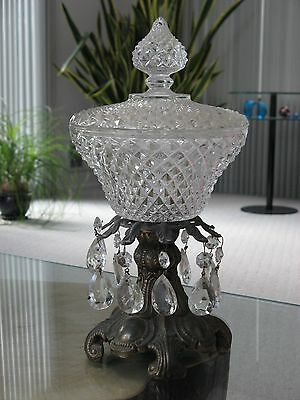 "Vintage Heavy Cut Glass / Crystal Bowl & Lid w/ Prisms Gold Bronze Stand 13"" H"