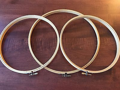 "Lot of 3 Wood Embroidery Hoops 2@10"" 1@12"" ROC Taiwan Cross-Stitch Frames"
