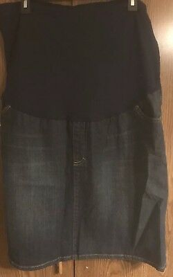 New With Tags Womens Materity Jean Skirt XXL Knee Length Dark Wash Pockets