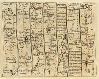 Banbury Stratford Bromsgrove Kidderminster Bridgnorth. KITCHIN road map 1767