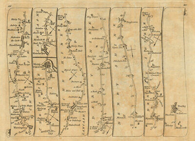 Warrington Chester Manchester Stockport Buxton Derby. KITCHIN road map 1767