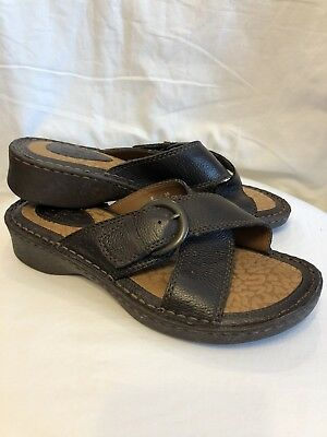 ca52dfd34 BORN CONCEPT Size 8 M Womens Brown Leather Strappy Wedge Heel Sandals 8M