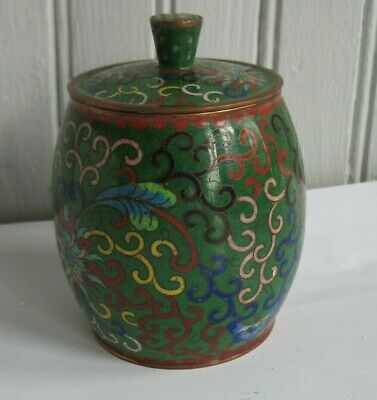 vintage Chinese cloisonne enamel tea caddy canister jar box Brass floral Green