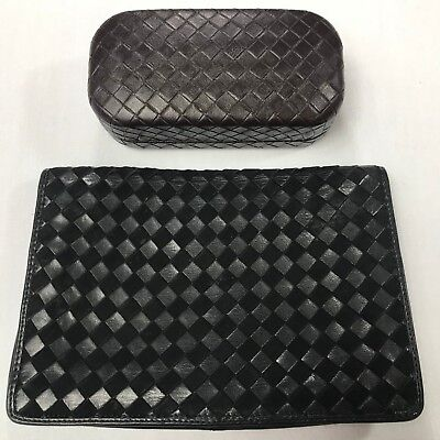 1204eacb4318 BOTTEGA VENETA WOVEN BLACK CLUTCH 80 s + Sunglass case -  189.99 ...