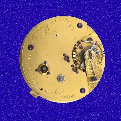 Wright of Wavertree  19 Jewel Seconds Chronograph Fusee Watch Movement 1880