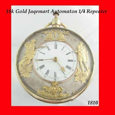 Georgian 18K Gold Quarter Repeater Swiss Automaton Cylinder Pocket Watch 1775