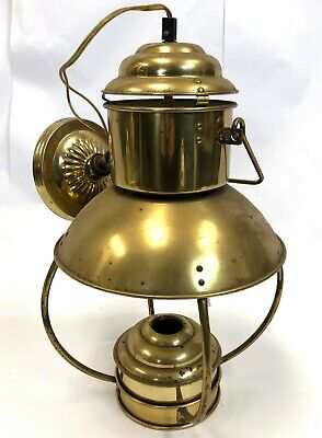 "Vintage 18"" Kosmos Brenner Hanging Brass Oil Electric Lantern Lamp Light Fixture"