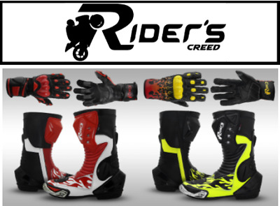 Riders Creed Fire Flame Leather Racing Motorbike Boots + Riders Creed Gloves