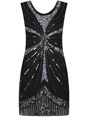 Ladies 1920s Gatsby Charleston Flapper Sequin Black Dress New Size UK 8