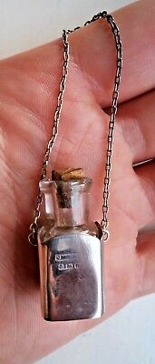 Antique 1911 Chatelaine Sterling / Solid Silver Miniature Scent / Perfume Bottle