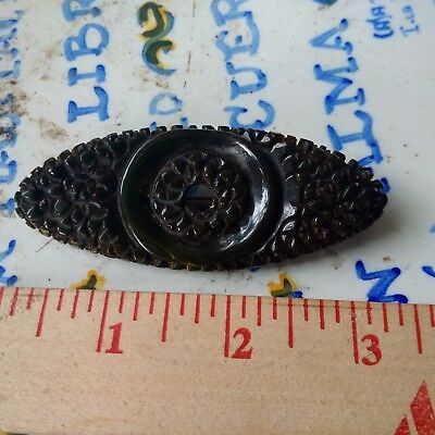 Bakelite pin large very dark green deeply carved 3 inches long vintage 30's