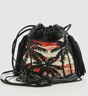 b498a081463  1650 Yves Saint Laurent Black Helena Fringed Bucket Cross-body Bag 412691  5568