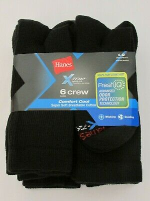 Hanes Men's X-Temp Comfort Cool Crew Socks, Black - Fits Shoe Size 6-12 - 6 Pack
