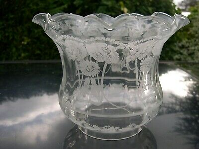 Spare Etched Glass Tulip Shade For English Duplex Kerosene Oil Lamp Chipped Edge