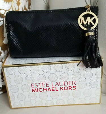 21bc144563b Limited Edition Michael Kors Estee Lauder Faux Snakeskin Clutch Bag Black  Gold