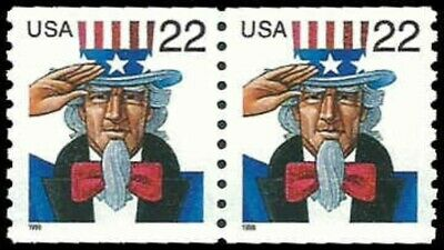 US #3353 Coil Pair 44c(2x22c)Uncle Sam, 1999, MNH, (PCB-6)