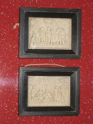 French Antique Pair Carved Plaque Miniatures by C F Becker