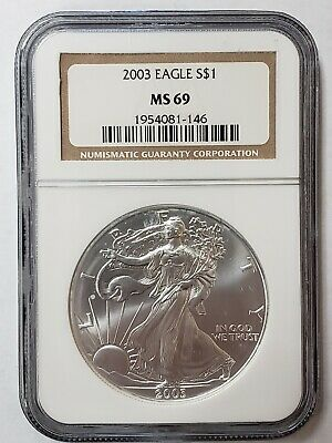2003 1 oz Silver American Eagle $1 Coin NGC MS 69 * FREE SHIPPING * (61Y)