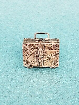 Antique Miniature Sterling Silver Hinged Pill Snuff Box doll dollhouse suitcase
