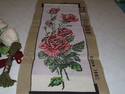 Tapestry - Collection D'Art - Red Roses - Started  - With Wool to Complete