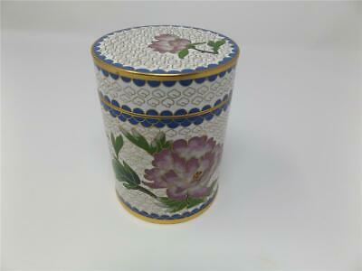 Chinese Cloisonne Enamel Tobacco Tea Canister Jar Caddy Peony Flowers