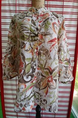 e9bb3d2c731 ALFRED DUNNER 16 Tunic Sheer Artsy Button Down Tropical Browns Oranges Women  Top