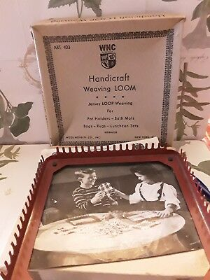 Vintage WNC Hand Weaving Loom w/ Hook in Original Box WNC ART. 403 w/ loops!!