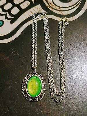 Neon Lime Green Dragons Eye Pearl Glitter Antique Silver Necklace Vampire Amulet