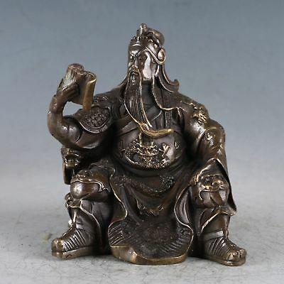 Chinese Exquisite Brass Guan Yu Statue Made By The Royal Daqing HT0034 A