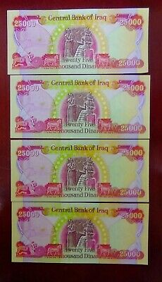 100,000 in New Iraqi Dinar Banknotes, 4 x 25,000!! Guaranteed Authentic!!!