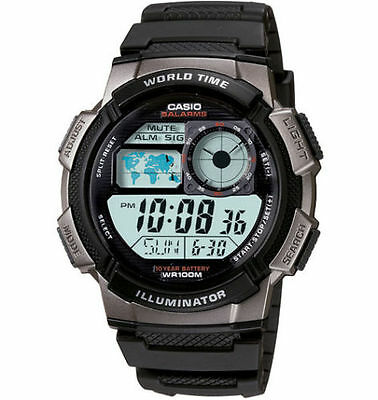 Casio AE1000W-1BV, Digital Men's Watch, 100M, 5 Alarms, Chronograph, Resin