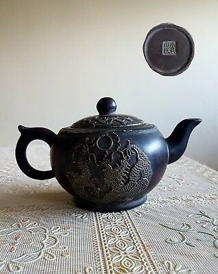 Very nice Old Chinese Tea Pot, Handcraft with Inlayed Dragon Design. Marked