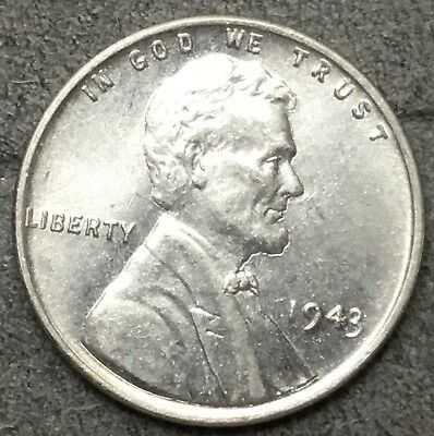 *1943 P* Uncirculated BU Steel Lincoln Wheat Cent Penny. R477 *Free Ship*