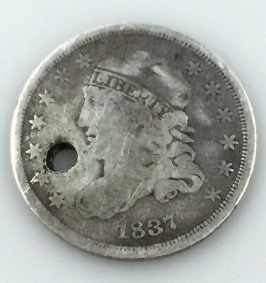 1837 Capped Bust US Half Dime Silver 5 cents (Holed)