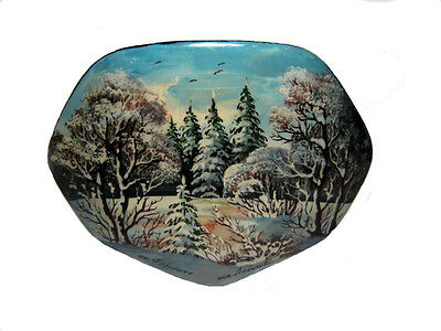 Genuine Large Lacquer & Mother Of Pearl Fedoskino Russian Box *winter*!!!