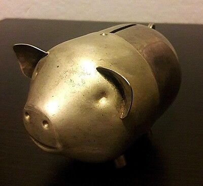 Vintage Silverplate Happy Standing Pig Piggy Coin Money Bank Silver Plate China