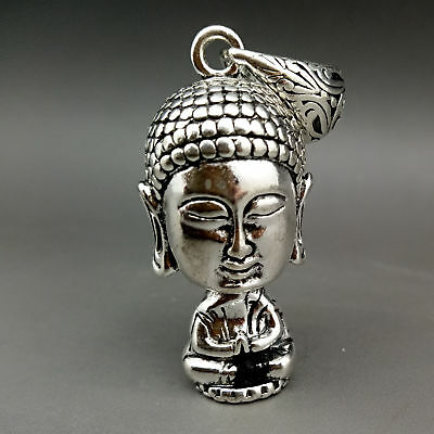 Collectable Tibet Silver Hand Carved Buddha head Model Pendant      E646