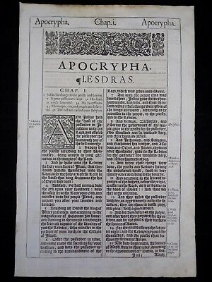 1611 King James Bible Leaf *book Of First Esdras Title Page * 1:1-41 * Very Good