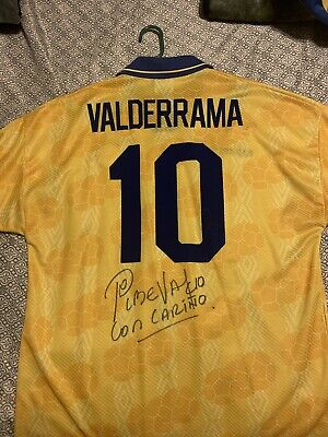 aacbf166b9f seleccion colombia 1994 Vintage Jersey Autographed Signed By Pibe Valderrama