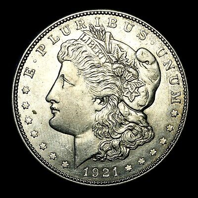 1921 D ~**ABOUT UNCIRCULATED AU**~ Silver Morgan Dollar Rare US Old Coin! #K28
