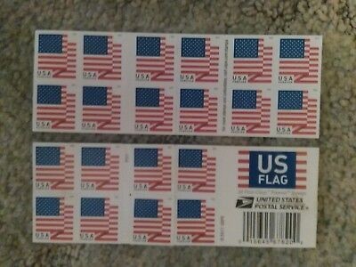 Lot of 5 USPS FOREVER Postage Stamps of 'US FLAGS' STRIPS - 20 ct.ea-FREE SHIP!