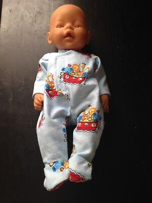 Homemade Baby Born Blue With Animals Coverall