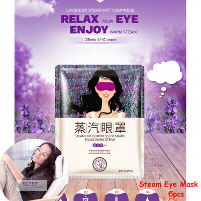 5 pcs Lavender Self-Heating Warm Steam Eye Mask Sleeping Patch Relieve Fatigue