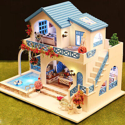 Miniature Super Mini Size Doll House Building Model Kits Wooden Furniture H3D9