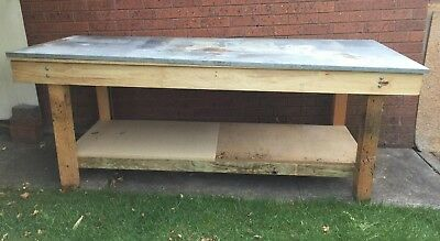 Timber Workbench With Custom Made Steel Lid