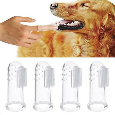 4/8 PCS Soft Silicone Pet Finger Toothbrush Tooth Cleaner Dog Cat Cleaning Clear